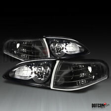 Fit 1994-1998 Ford Mustang Black Headlights+Corner Lights Turn Signal Lamps