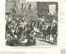 1429 Jeanne d'Arc Orléans Guerre de Cent Ans France GRAVURE ANTIQUE PRINT 1875