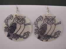 White Black Shell bird hoot OWL pattern dangle disc big earrings lightweight