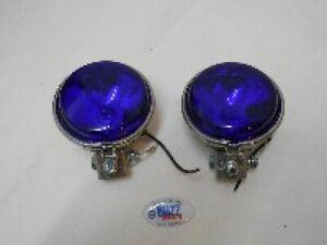 "Scooter Mod Halogen Spotlights Pair BLUE Lens 9cm 3.5"" Diameter 001072"