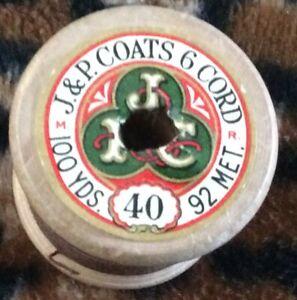 Vintage Wooden Cotton Reel,J P Coats, 6 Cord, Color 92 Brown.