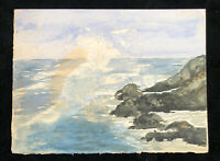 Vintage Original Watercolor Heavy /Art Paper Cardboard Ocean Sea Side Rocks Wave