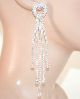 ORECCHINI ARGENTO sposa STRASS fili pendenti eleganti cristalli boucles E160
