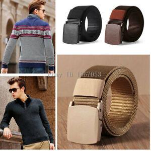46-62 Inch Mens Designer Belt Webbing Belts Plastic Buckle Waist Strap Waistband