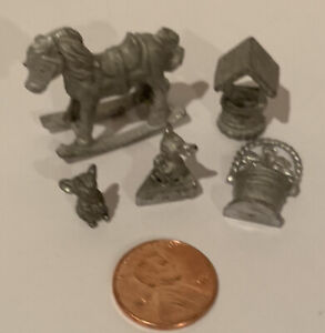 Dollhouse PEWTER FIGURINES Lot Statues Horse Flowers Mice Metal Vintage 1:12