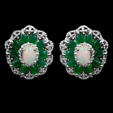 EARTH MINED 7X5MM OPAL GREEN AVENTURINE NATURAL RARE GEMSTONE SILVER 925 EARRING