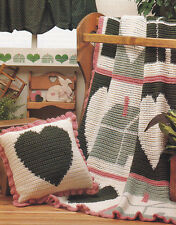 Crochet Pattern ~ COUNTRY HEART & HOUSE AFGHAN ~ Instructions