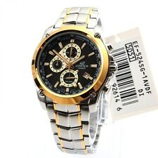 Casio EF524SG-1A Mens Two Tone Carbon Stainless Steel Watch 100M Retrograde Gold