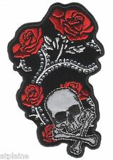Patch brodé SKULL ROSES - Style BIKER HARLEY