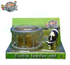 Kids Globe 1:32 Scale CATTLE FEEDER RING SET including Round Bale and Cow