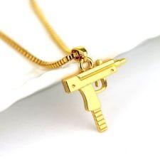 Alloy Gold Tone Mini Uzi Pendant Chain/Necklace w/Free Jewelry Box and Shipping
