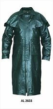 Mens Black Motorcycle Biker Leather Duster Trench Coat