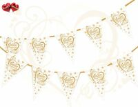 50th Gold Anniversary Themed Hearts Golden Bunting Banner 15 flags Very Luxury