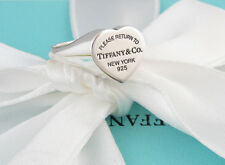 AUTHENTIC TIFFANY & CO RETURN TO TIFFANY SIGNET HEART RING SIZE 7.5 BOX INCUDED