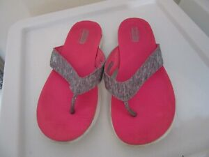 Skechers goga mat on the go ladies grey & pink flip-flops shoes size 5