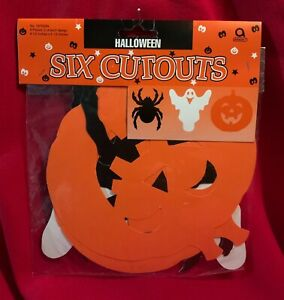 Halloween Cutouts,Decorations,Spider,Ghost,Jack-O'-Lantern,Vintage,Mint in Bag