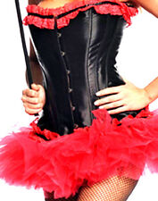 Bustier Corset Womens XL Red Black Ruffle Ribbon Gothic Sexy Lingerie Costume