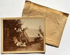 Antique Old 1880s 19th Century Camping Tent Swing Homestead Photograph Burncoat