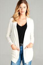 Women's Cardigan Long Sleeve Open Front Draped Sweater Rib Banded w/ Pockets