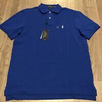 Polo Ralph Lauren Mens Sz Medium Blue Polo Shirt Pony Cotton Mesh NWT $89.50