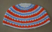 Frik Freak Kippah Yarmulke Crochet Colorful Aqua Orange Striped Israel 21 cm