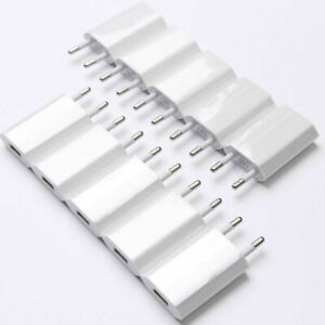10PCS/LOT White USB EU Euro Plug Wall Charger Plug 5V 1A Power Adapte for i 7 8