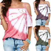 Womens Cold Shoulder Short Sleeve Loose T-Shirt Strap Summer Casual Blouse Tops