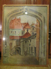 ancien tableau aquarelle signé giraud daté aout 1925 porte vieille ville