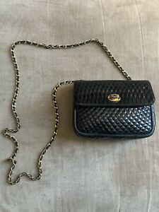 Vintage BALLY Italy Black Patent Leather Mini Quilted Crossbody Chain Bag Purse