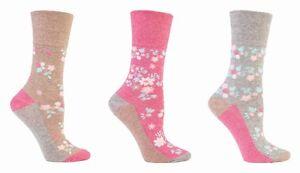 6 Pairs Ladies Drew Brady Gentle Grip Honeycomb Top Non Elastic Socks PATTERNED