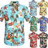 Men Floral Short Sleeve Blouse Hawaiian T-Shirt Summer Beach Holiday Casual Tops