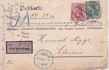 """Germania - 1906 inizio """"contrassegno"""" etichetta Dortmund cartolina coprire a LUNEN"""