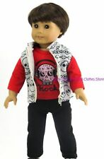 Skulls Top ~ Vest- Pants 18 in Boy Doll Clothes Fits American Girl