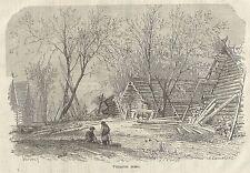 A1157 Villaggio russo - Incisione - Stampa Antica del 1905