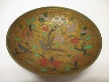 Vintage Brass Metal Bird Floral Bowl Decor Old #768
