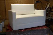 Urban Retro Low Sitting Flip Out Cuddle Sofa Bed In White Faux Leather
