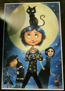 NATHAN SZERDY HAND SIGNED 12X18 ART PRINT CORALINE MOON CAT ANIMATED HORROR NEW