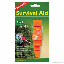 Coghlans 5 in 1 Survival Aid features Whistle Compass Flint Mirror Storage