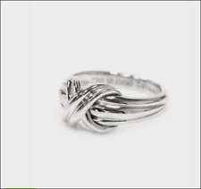 Tiffany & Co.18K White Gold Signature X Kiss Rare Wide Band Ring Sz 5.75 EUC