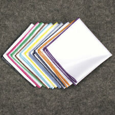 WHOLESALE LOT12 PCS Men's White Cotton Handkerchief Pocket Square Hankies 9.8""