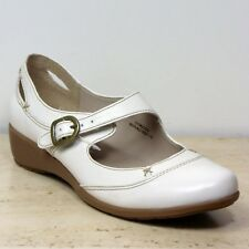 M&S FOOTGLOVE Real LEATHER Low Wedge MARY JANE Casual Shoes ~ Sz 5 or 6 ~ IVORY