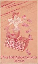 Rare Chromo Arsène Saupiquet Nantes Sardines à la Ravigote en boite conserve n1