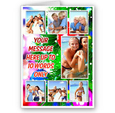 Personalised 7 Photos & Short Message, Merry, Happy, Christmas Theme A5 Card
