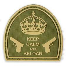 3D PVC Keep Calm & Reload Tactical Military Army Airsoft Morale Patch MTP Green