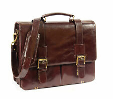 Leather Briefcase Organiser Business Messenger Shoulder Laptop Satchel Bag Brown