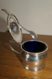 Birmingham 1886 Solid Silver Mustard Pot - Blue Glass Liner & spoon