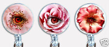 Badge Reel Retractable ID Name Card Lanyard Holder Flowers Eyes Pink Orange
