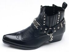 Men's Glitter Metallic Stud Chain Western High Heels Wide Entrance Ankle boots