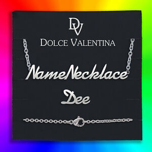 Personalise Your Name Necklace Silver, Gold, Rose-Gold Dee Nameplate UK