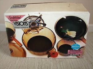 VTG 1991 Corning Visions Sculptured SilverStone Non-Stick 7 Piece Set - NOS